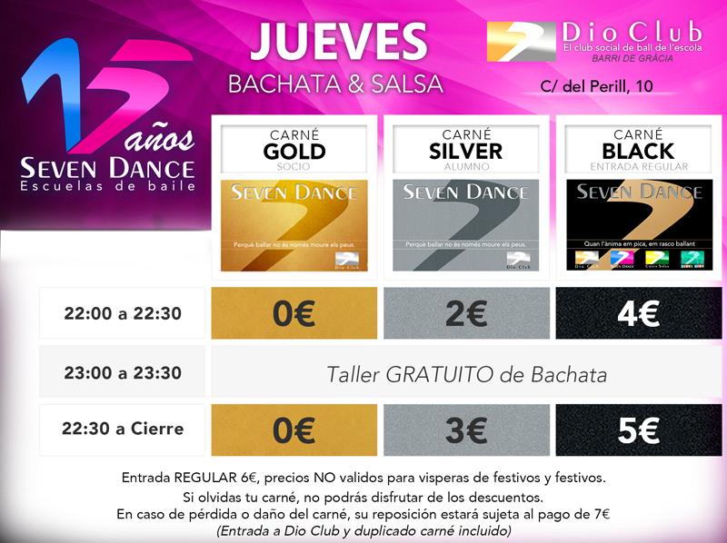 Horarios precios Dio Club, Escuelas de Baile Seven Dance Barcelona prácticas y clases de baile de Salsa y de Bachata