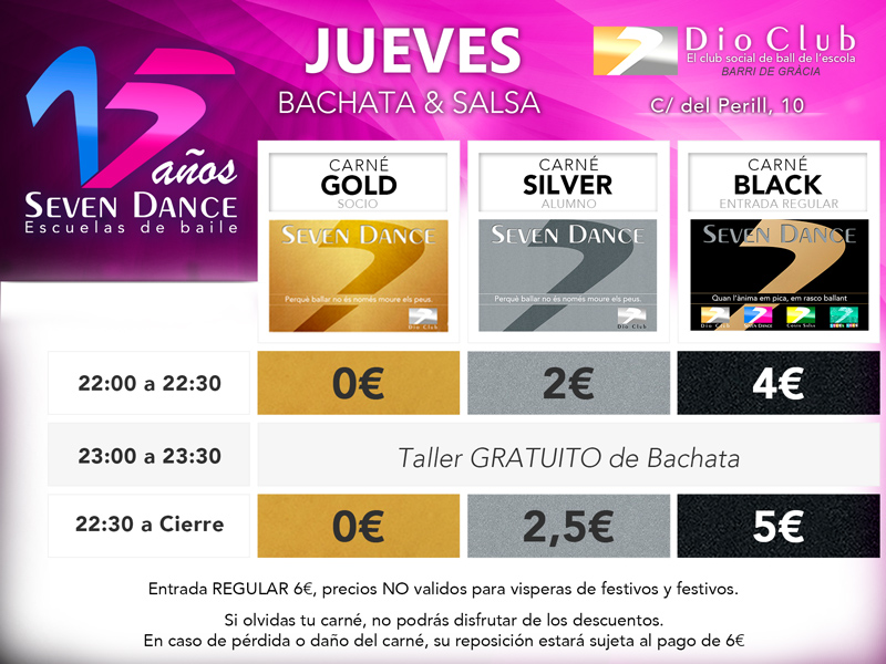Horarios y precios de las Escuelas de Baile Seven Dance Barcelona prácticas y clases de baile, bachata y salsa todos los jueves