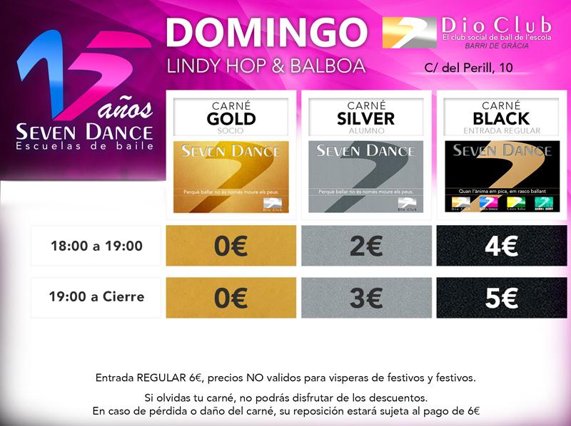 Horarios precios Swing & Balboa Escuela de Baile Seven Dance Barcelona prácticas